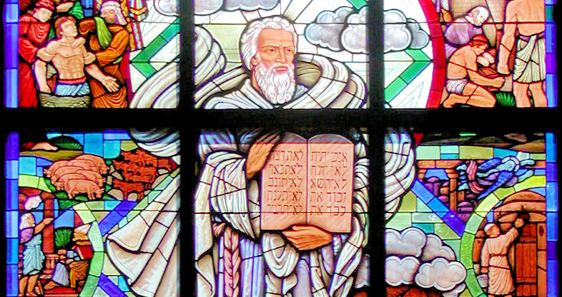 The story in the Bible in a stained glass window