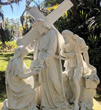 Jesus carries the cross meeting us