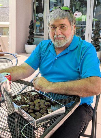 Ralph Modica enjoys his chocolate birthday gift