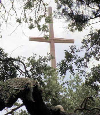 The cross viewed through trees