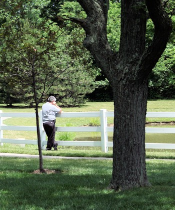 man standing at a fence