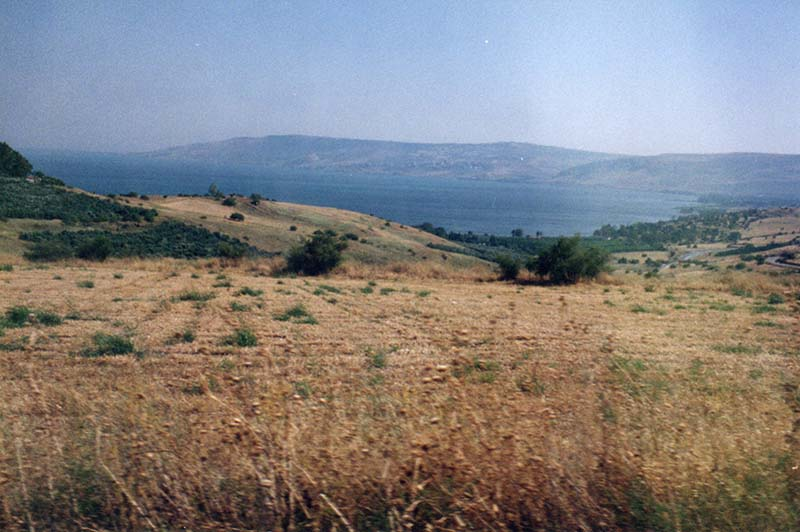 Hillside photo of natural amphitheater overlooking Sea of Galilee