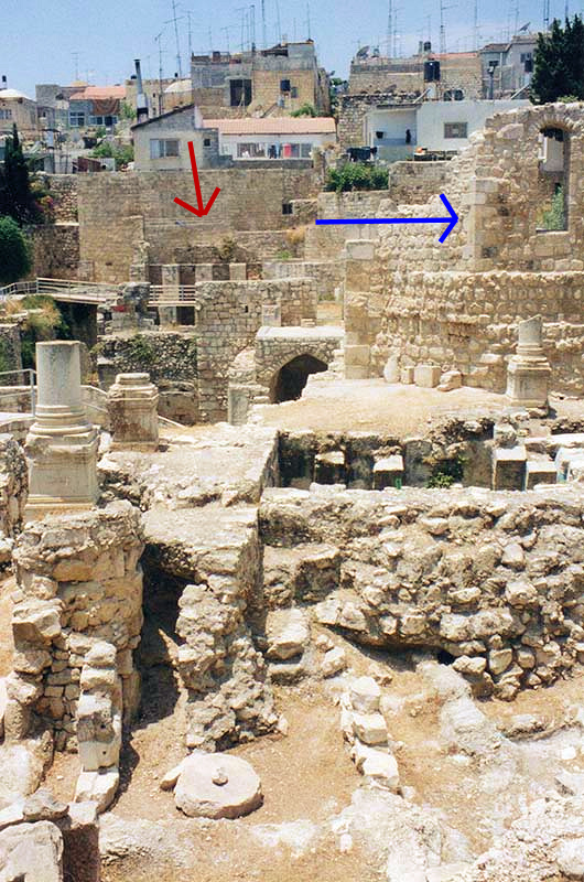 Ruins of the Pools of Bethesda and modern homes in Jerusalem