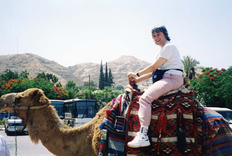 Having fun on camel ride in Jericho