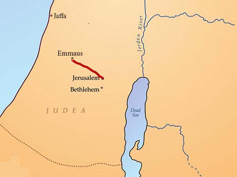 map of road to Emmaus