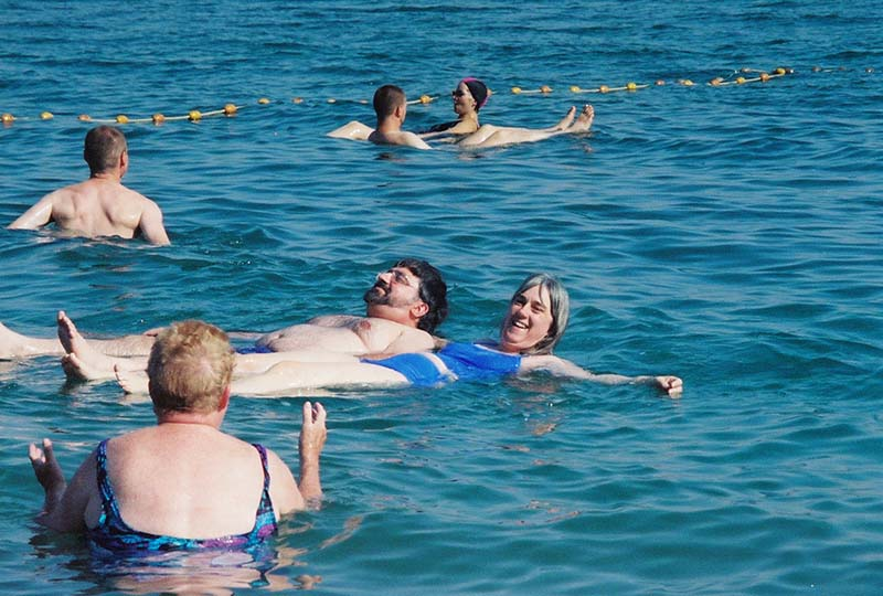 Floating on our backs in the Dead Sea