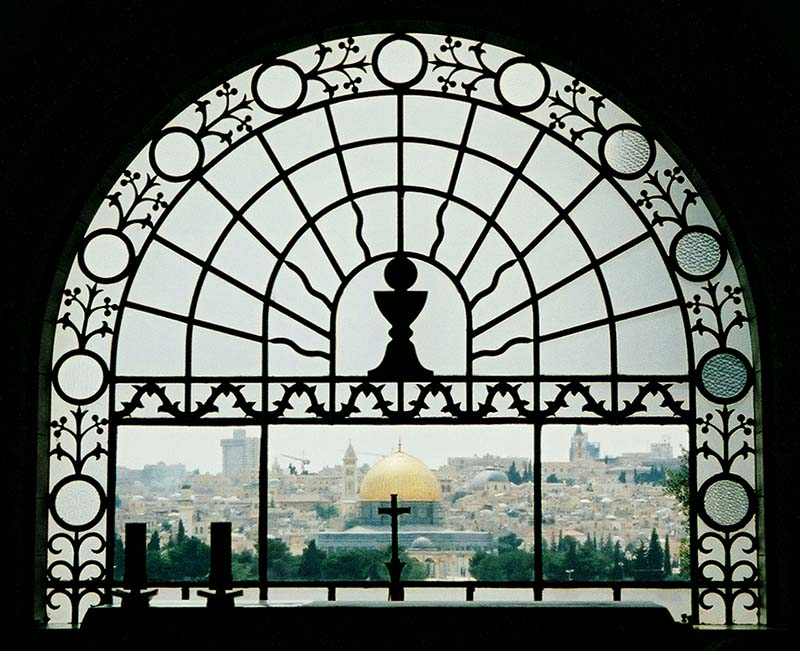 Jerusalem viewed from the window of the Church of Dominus Flevit (where Jesus Wept)