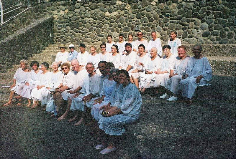 Group of pilgrims after renewing baptismal vows