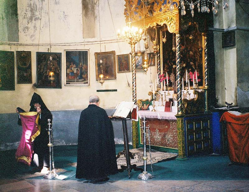 The Church of the Nativity an Armenian Orthodox priest