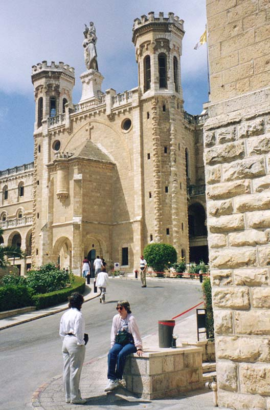 Front fascade of the Notre Dame Cultural Center in Jerusalem