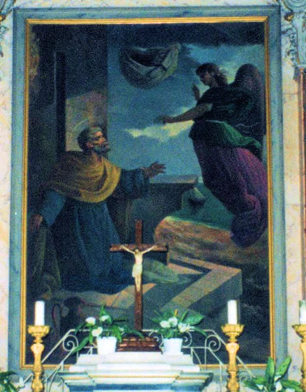 painting depicts the angel appearing to St. Peter