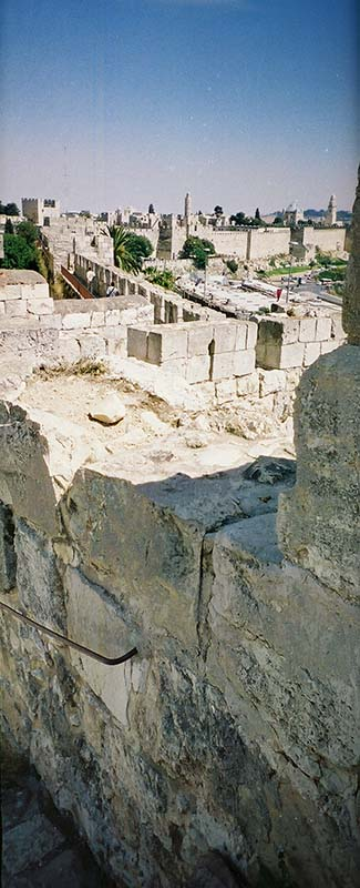 crumbling wall section of rampart in Jerusalem