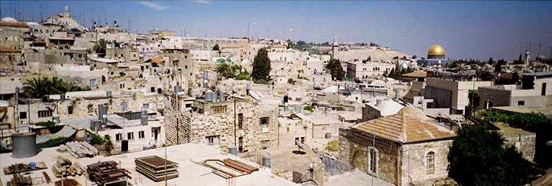 roof top view of rampart in Jerusalem looking at city