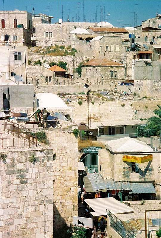 Israeli soldiers on top of rampart