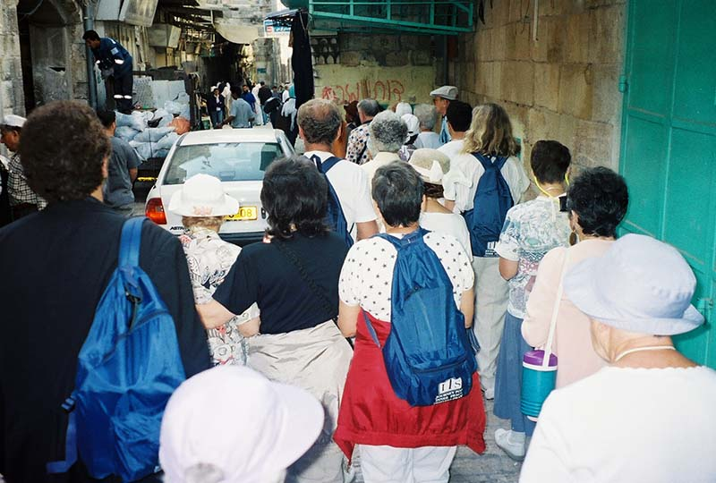 Via Dolorosa, the narrow streets of ancient Jerusalem